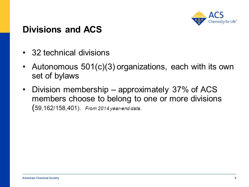 Divisions and ACS 32 technical divisions