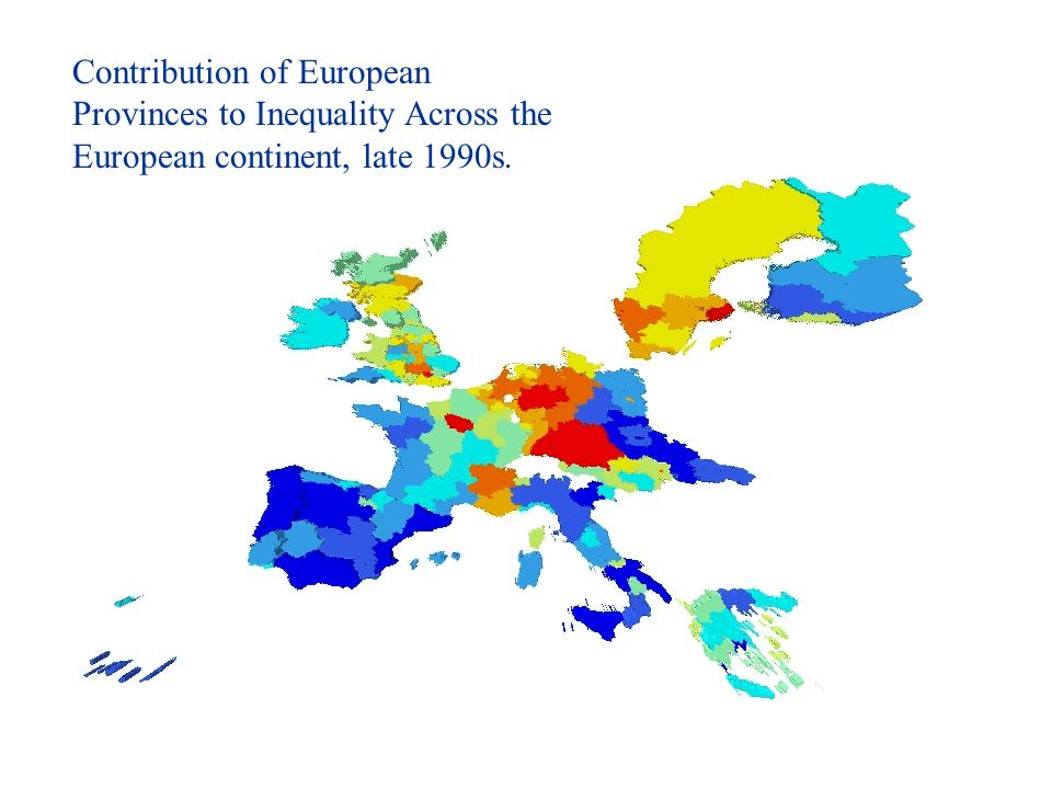 Contribution of European Provinces to Inequality Across the European continent, late 1990s.