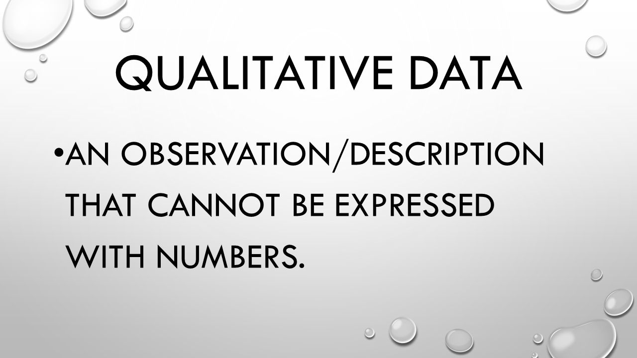 Qualitative Data An observation/description that cannot be expressed with numbers.