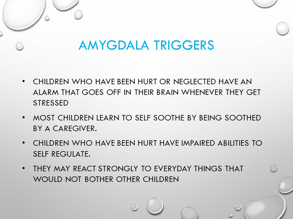 AMYGDALA TRIGGERS Children who have been hurt or neglected have an alarm that goes off in their brain whenever they get stressed.