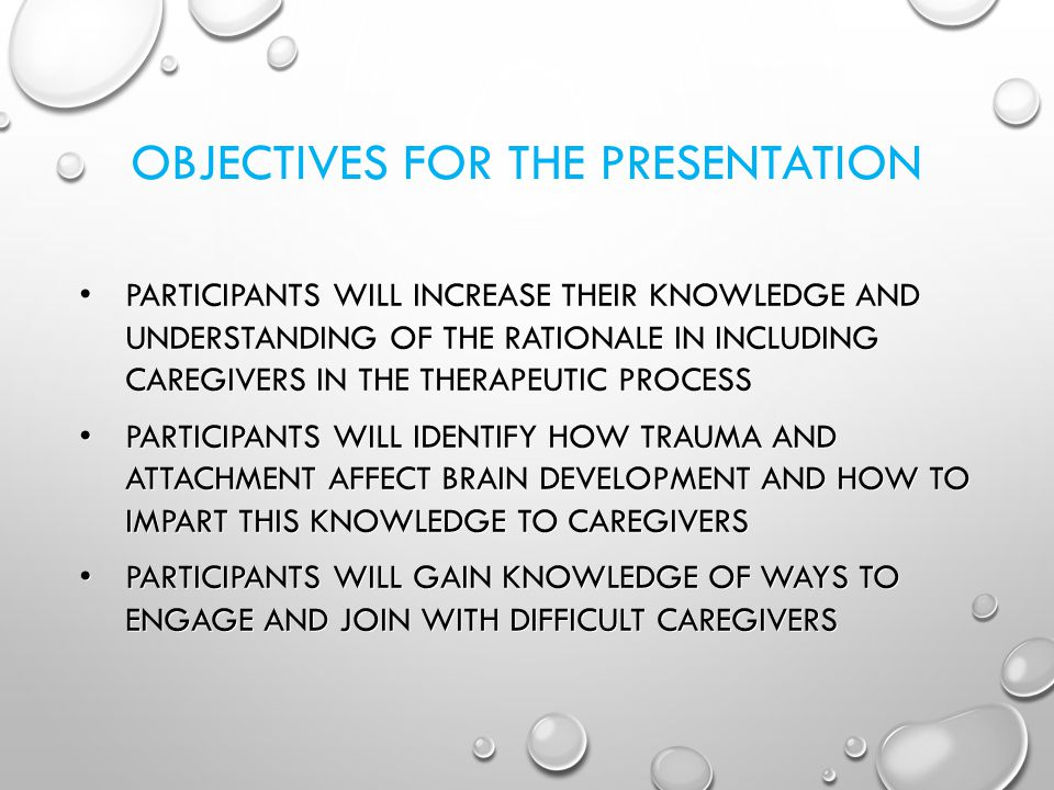 OBJECTIVES FOR THE PRESENTATION