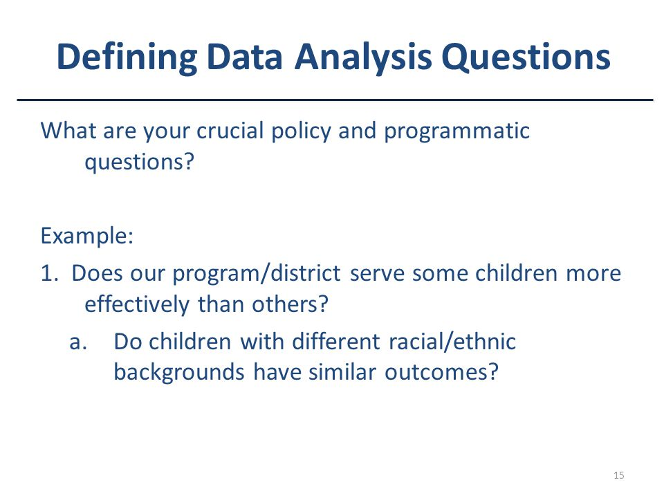 Defining Data Analysis Questions