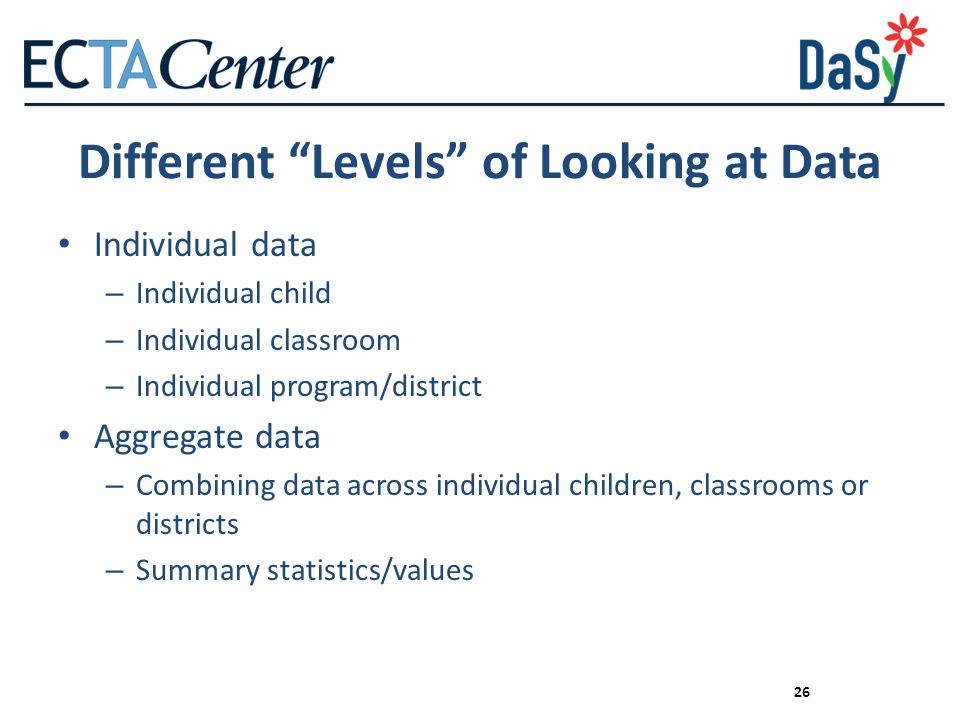 Different Levels of Looking at Data