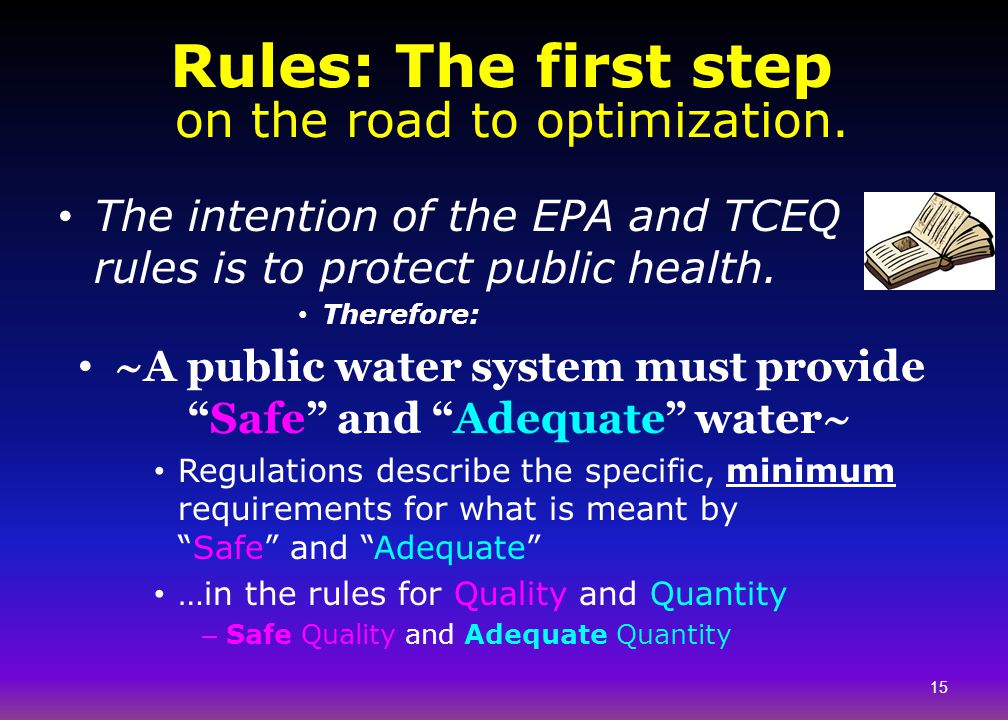 Rules: The first step on the road to optimization.