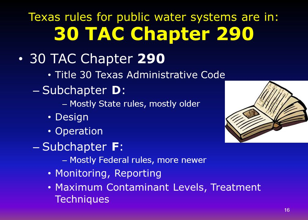 Texas rules for public water systems are in: 30 TAC Chapter 290