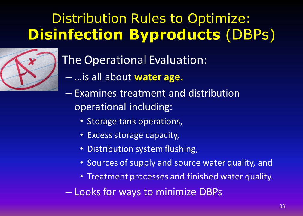 Distribution Rules to Optimize: Disinfection Byproducts (DBPs)