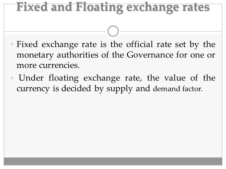 Fixed and Floating exchange rates