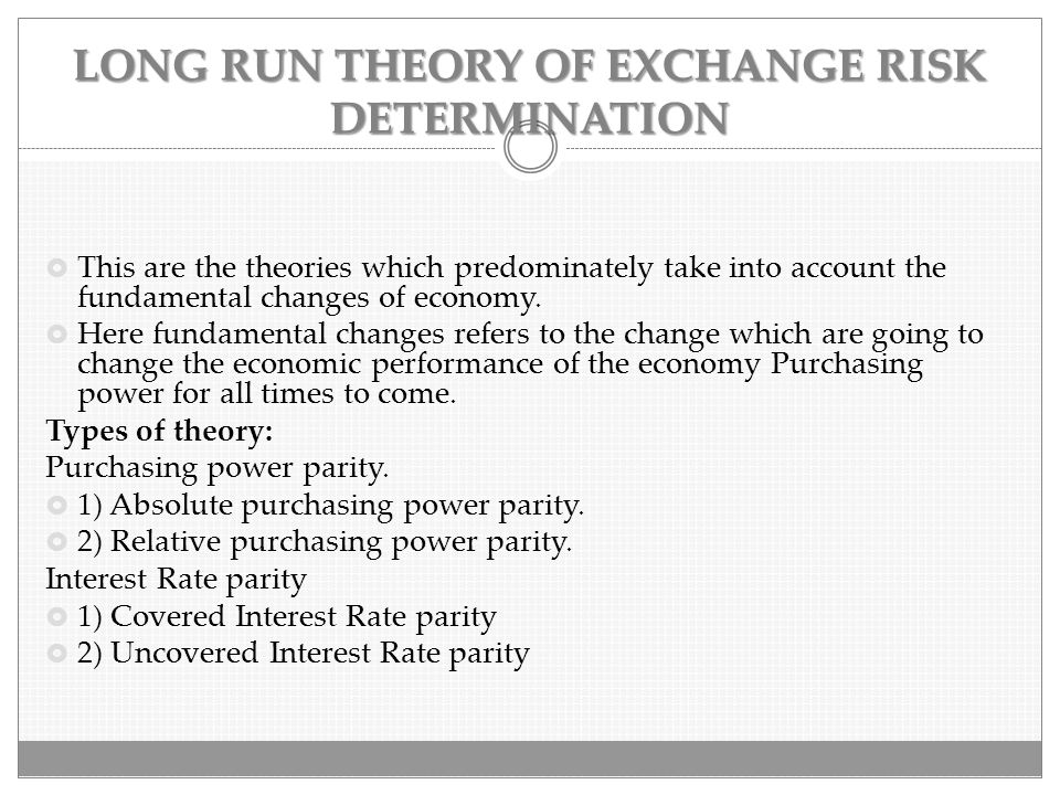 LONG RUN THEORY OF EXCHANGE RISK DETERMINATION