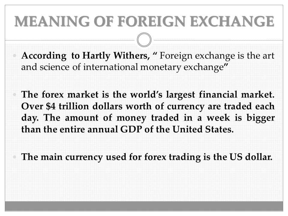 What is the meaning of forex