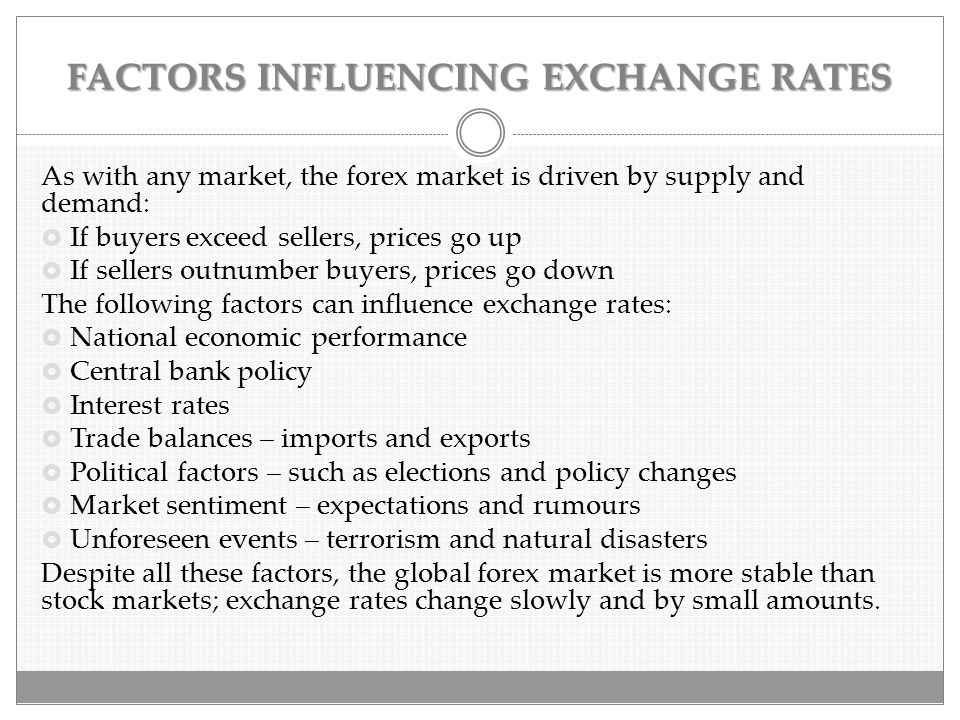 FACTORS INFLUENCING EXCHANGE RATES