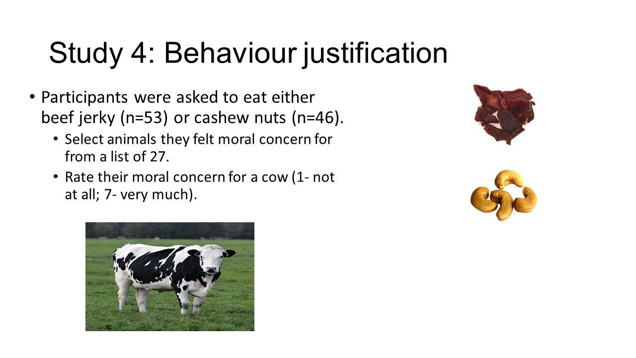 Study 4: Behaviour justification