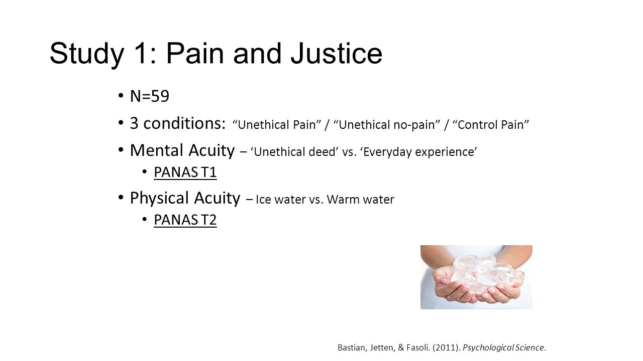Study 1: Pain and Justice