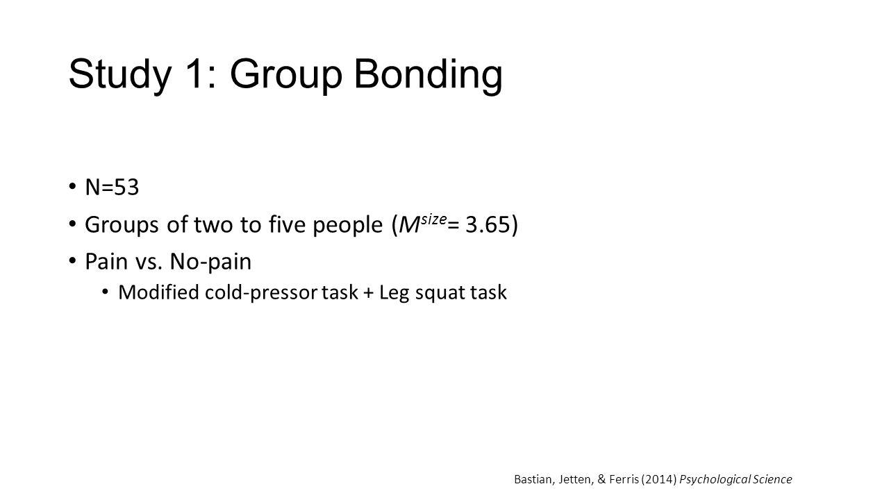 Study 1: Group Bonding N=53 Groups of two to five people (Msize= 3.65)