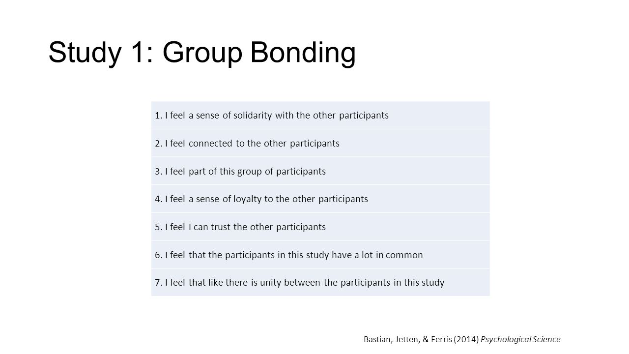 Study 1: Group Bonding 1. I feel a sense of solidarity with the other participants. 2. I feel connected to the other participants.
