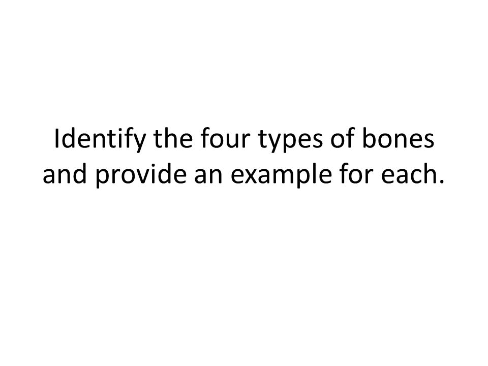 Identify the four types of bones and provide an example for each.