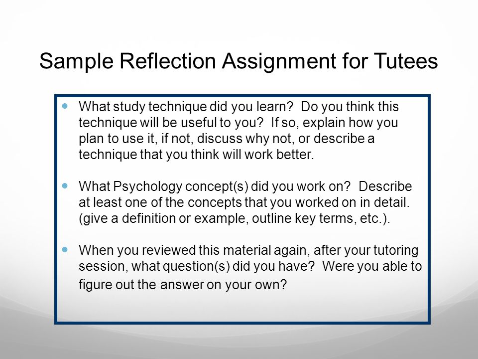Sample Reflection Assignment for Tutees