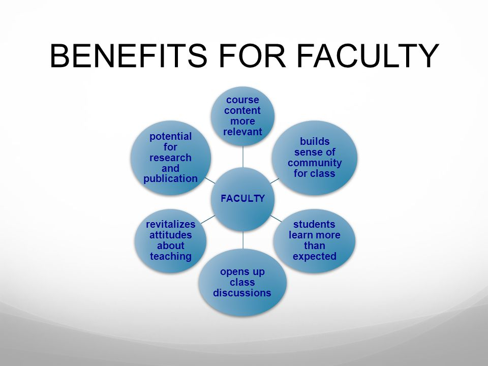 BENEFITS FOR FACULTY course content more relevant
