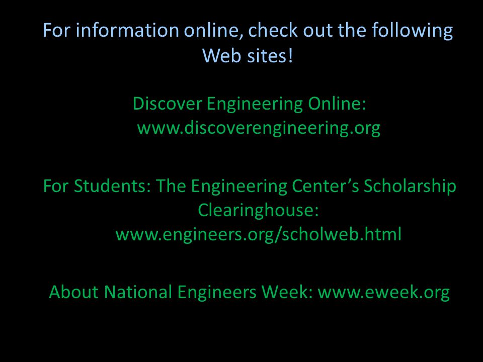 For information online, check out the following Web sites!