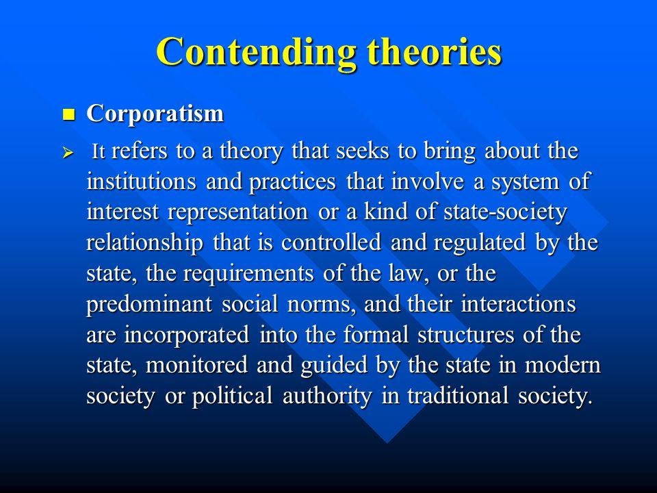 Contending theories Corporatism