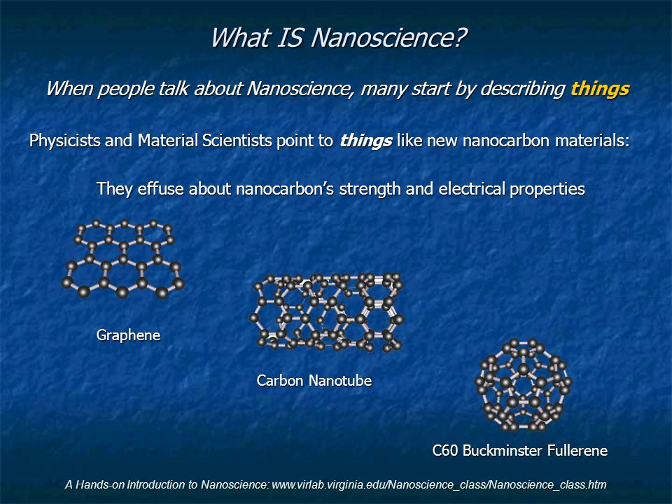 When people talk about Nanoscience, many start by describing things