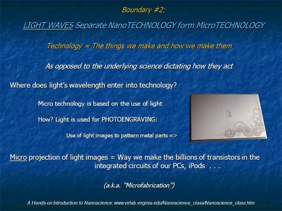 Boundary #2: LIGHT WAVES Separate NanoTECHNOLOGY form MicroTECHNOLOGY
