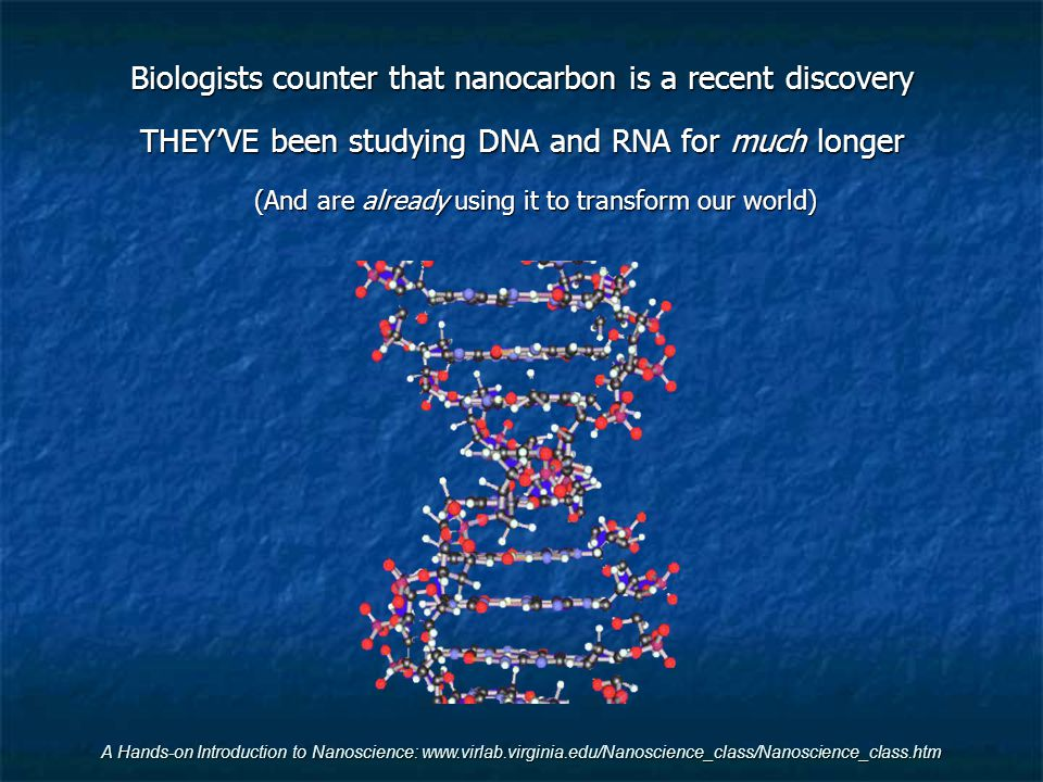 Biologists counter that nanocarbon is a recent discovery
