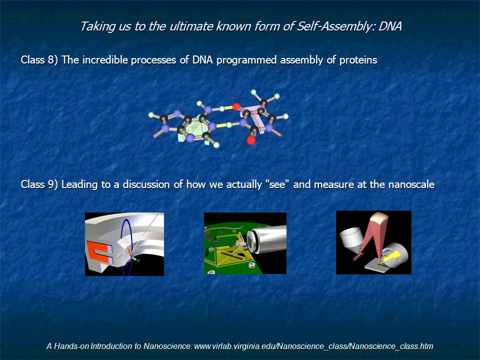 Taking us to the ultimate known form of Self-Assembly: DNA