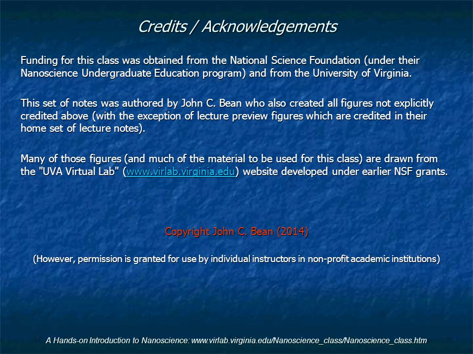 Credits / Acknowledgements