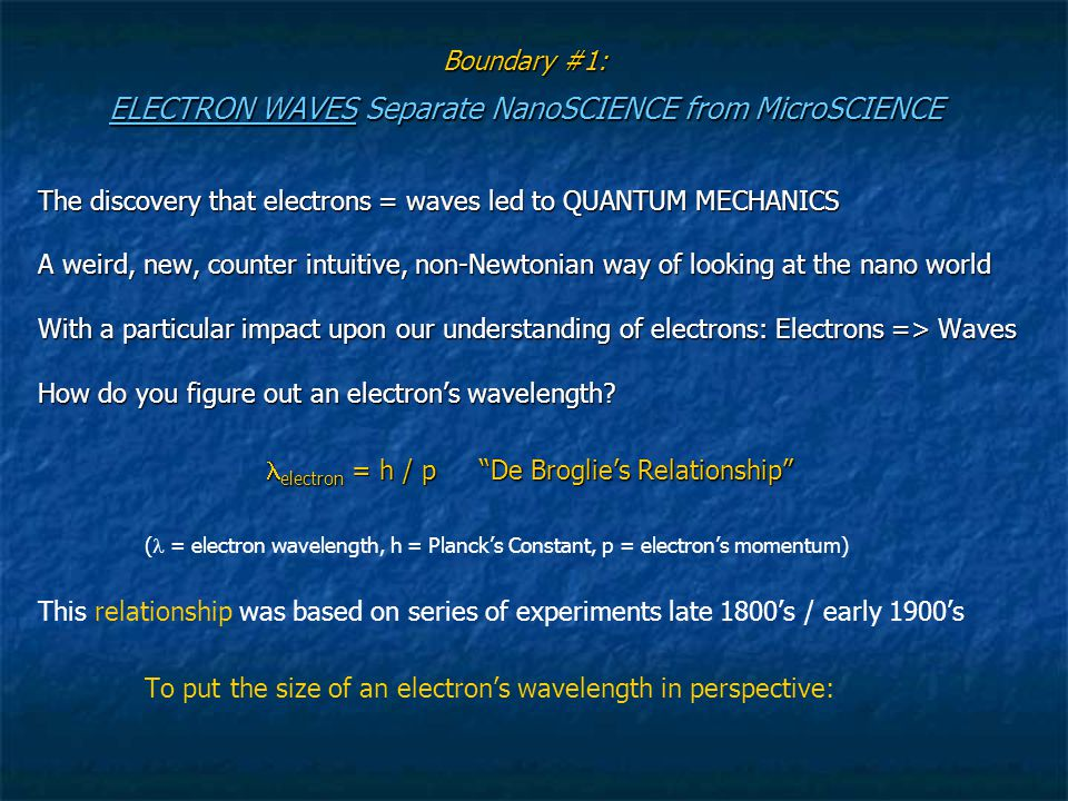 Boundary #1: ELECTRON WAVES Separate NanoSCIENCE from MicroSCIENCE