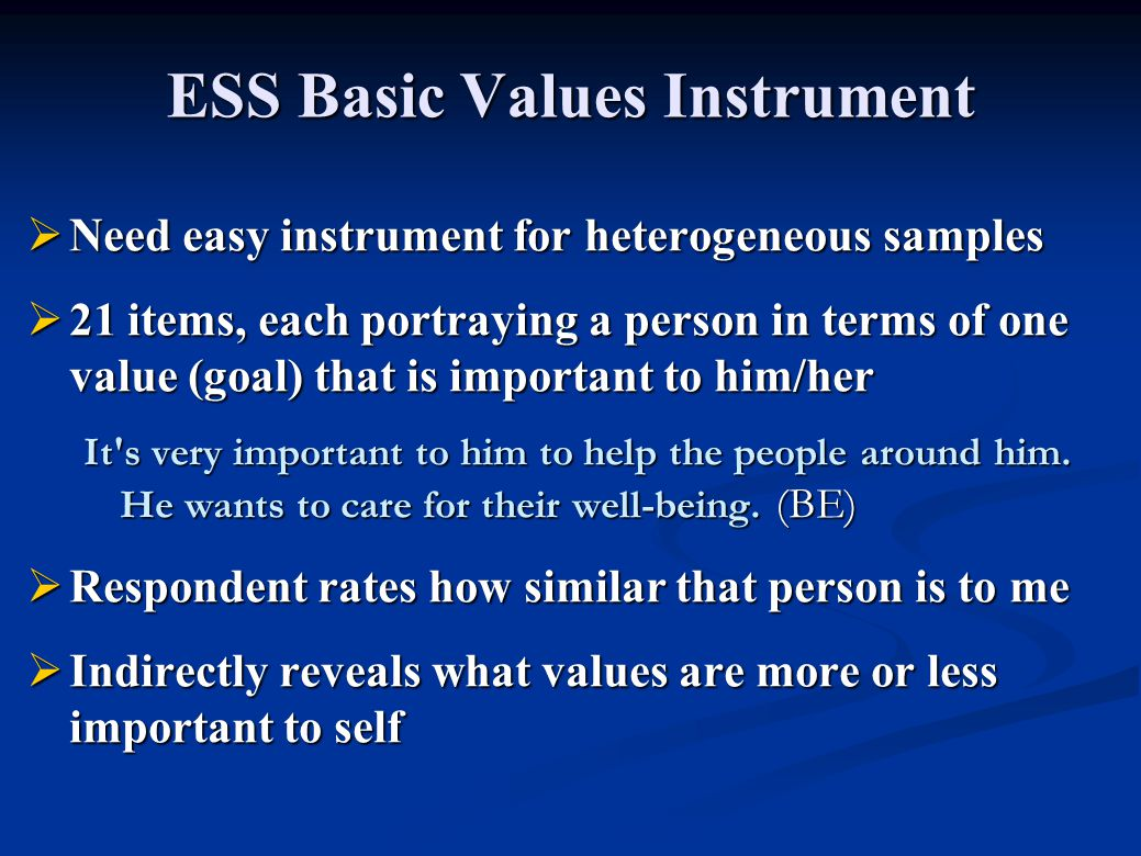 ESS Basic Values Instrument