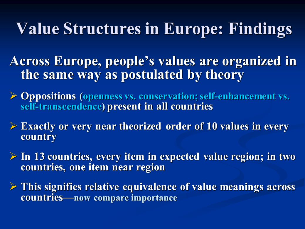 Value Structures in Europe: Findings