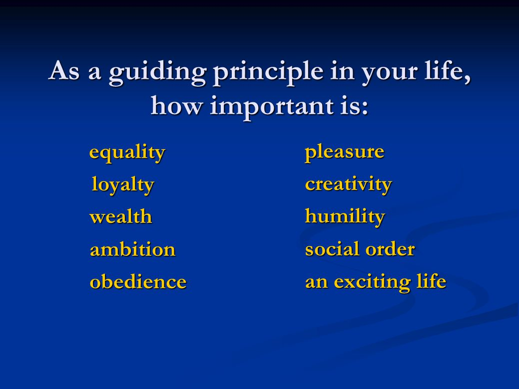 As a guiding principle in your life, how important is: