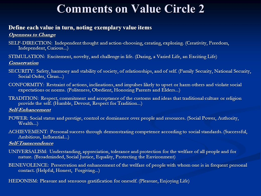 Comments on Value Circle 2