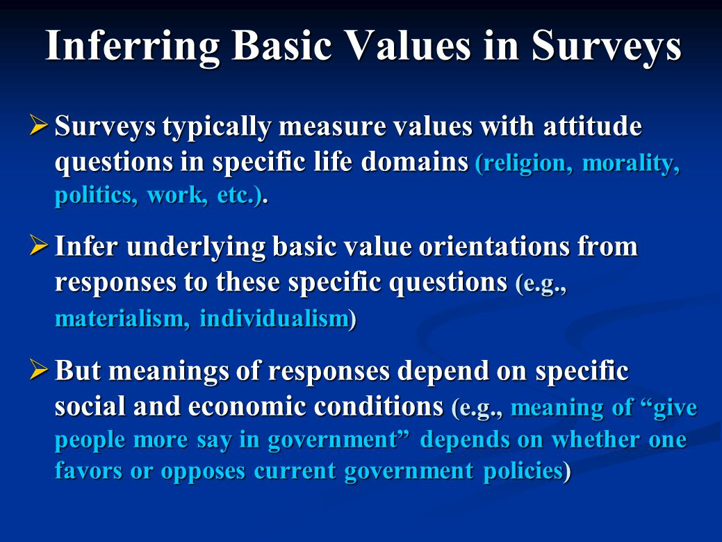 Inferring Basic Values in Surveys