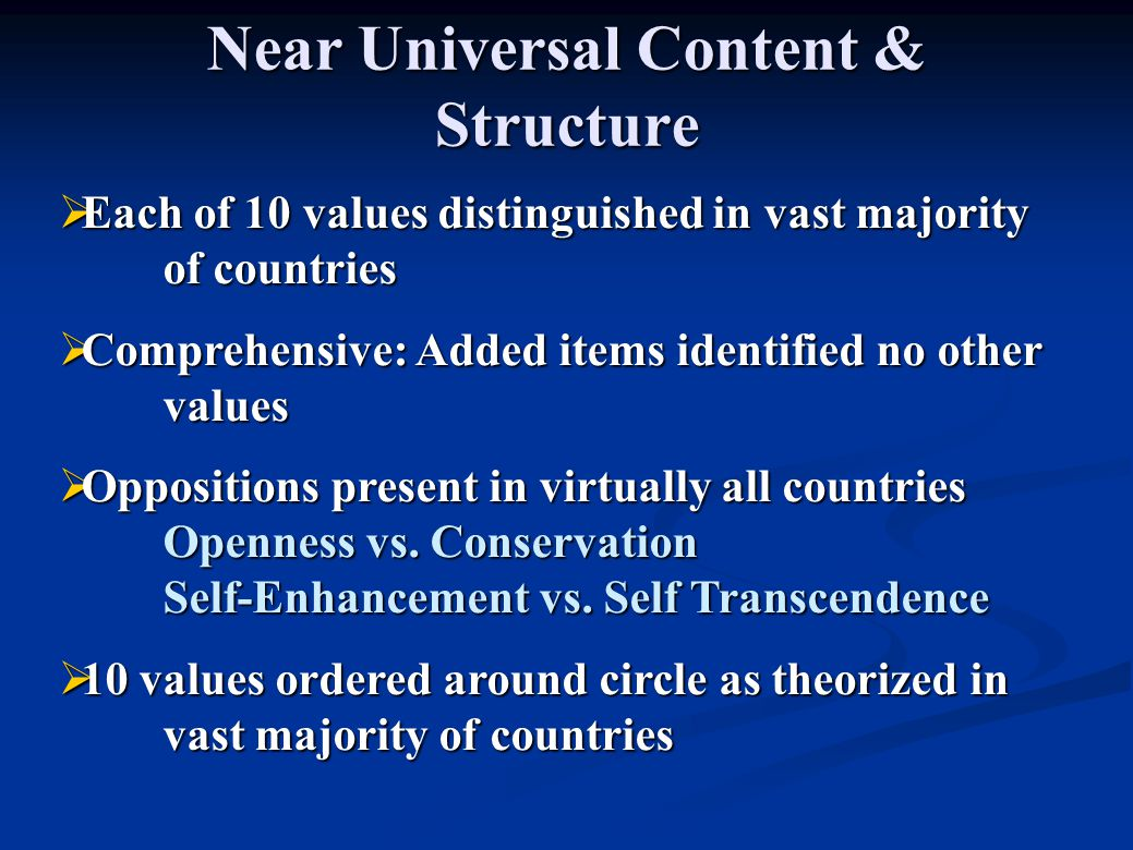 Near Universal Content & Structure