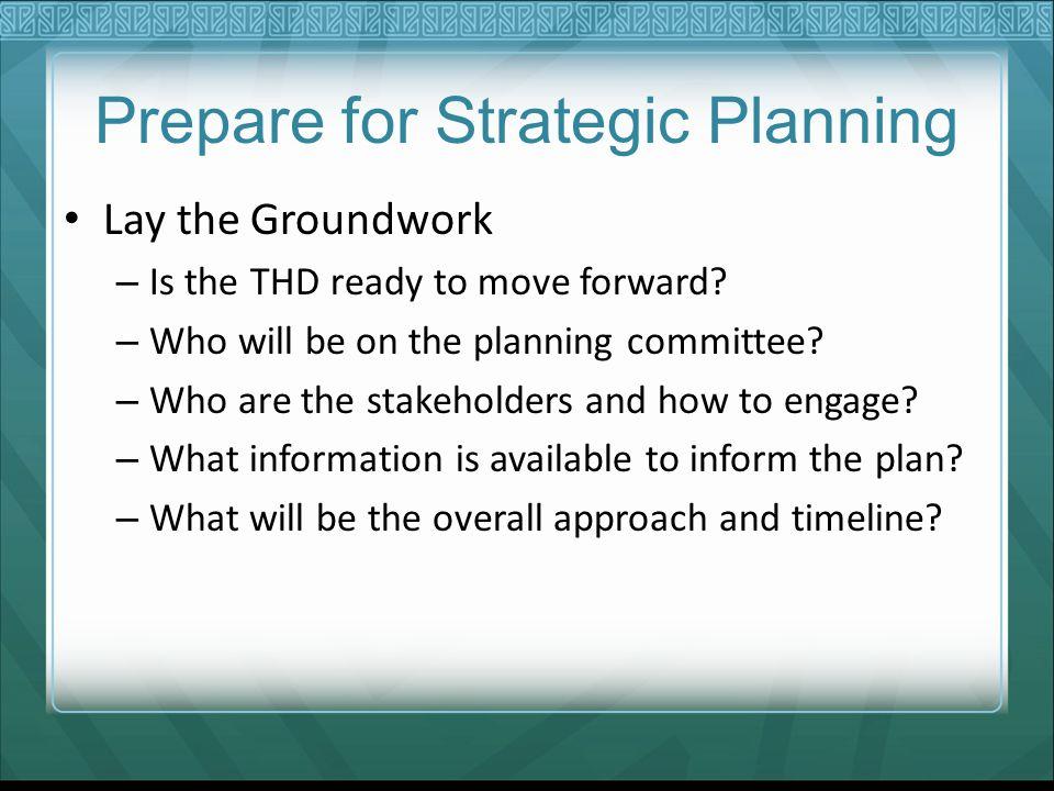 Prepare for Strategic Planning
