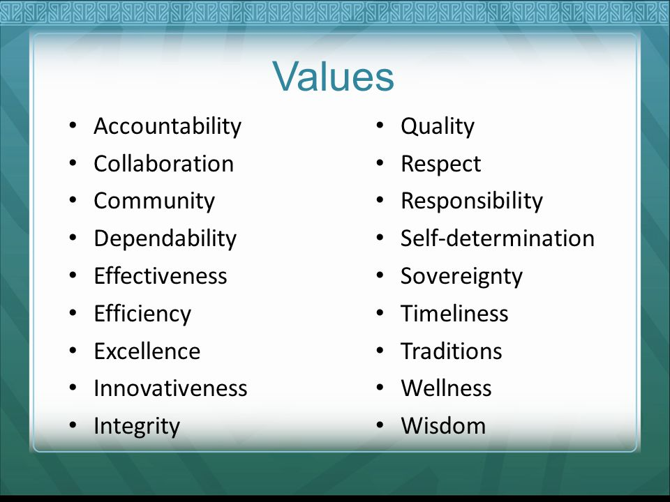 Values Accountability Quality Collaboration Respect Community