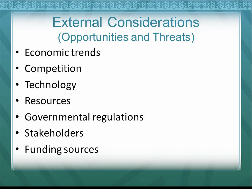 External Considerations (Opportunities and Threats)