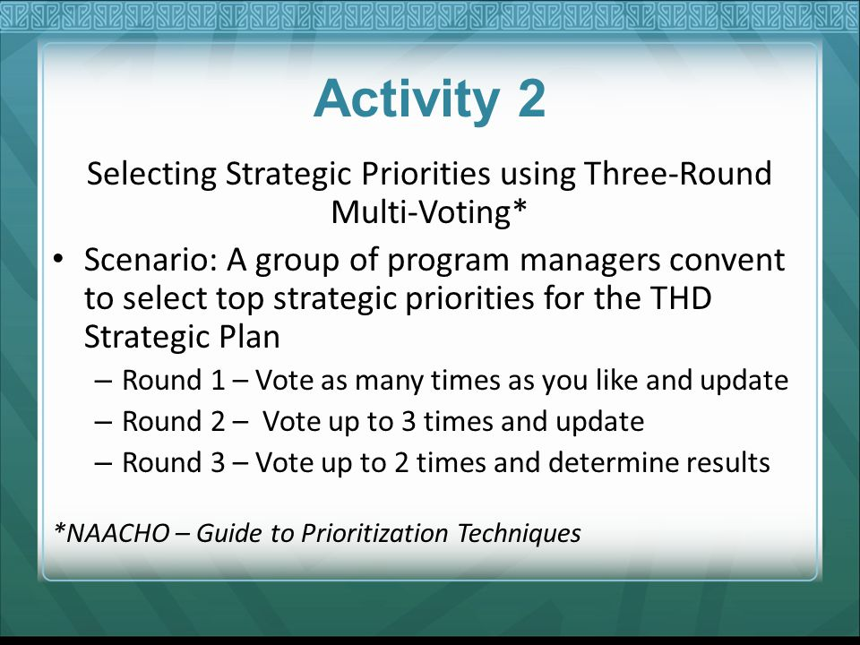 Selecting Strategic Priorities using Three-Round Multi-Voting*