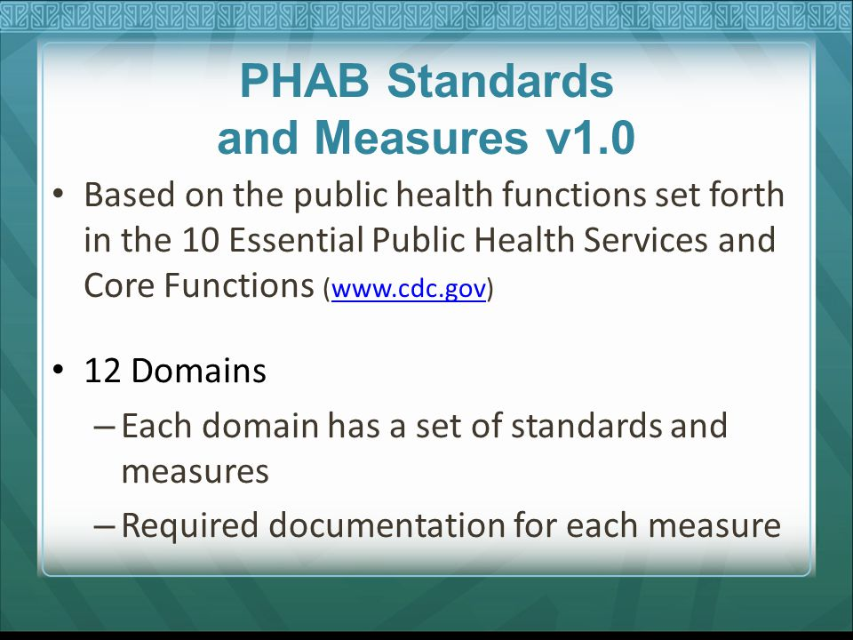 PHAB Standards and Measures v1.0