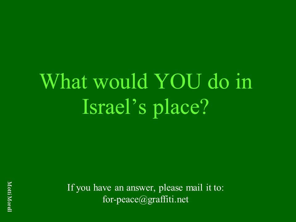 What would YOU do in Israel's place