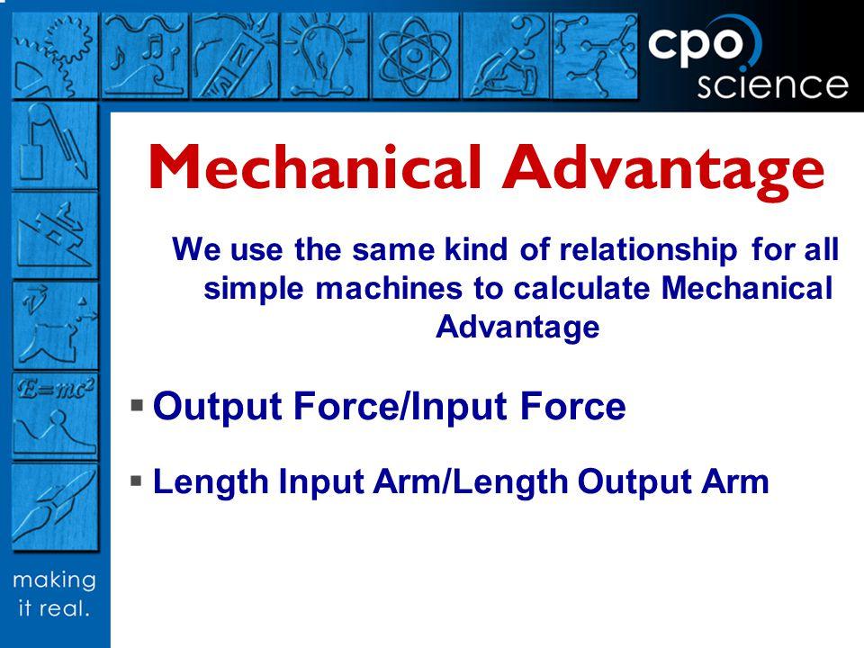 Mechanical Advantage Output Force/Input Force