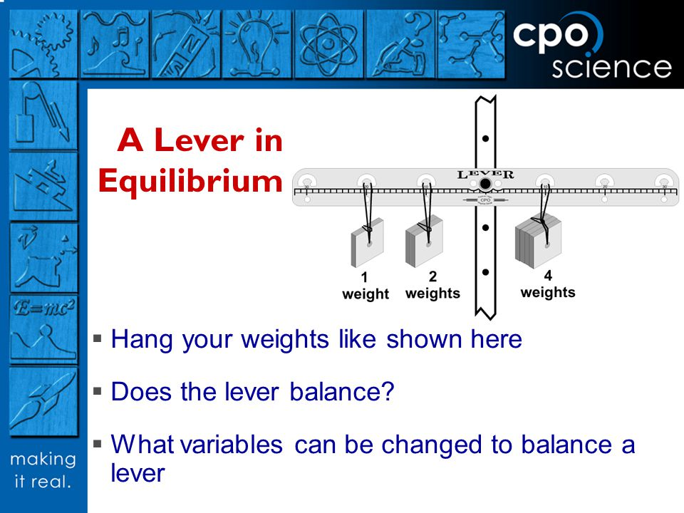 A Lever in Equilibrium Hang your weights like shown here
