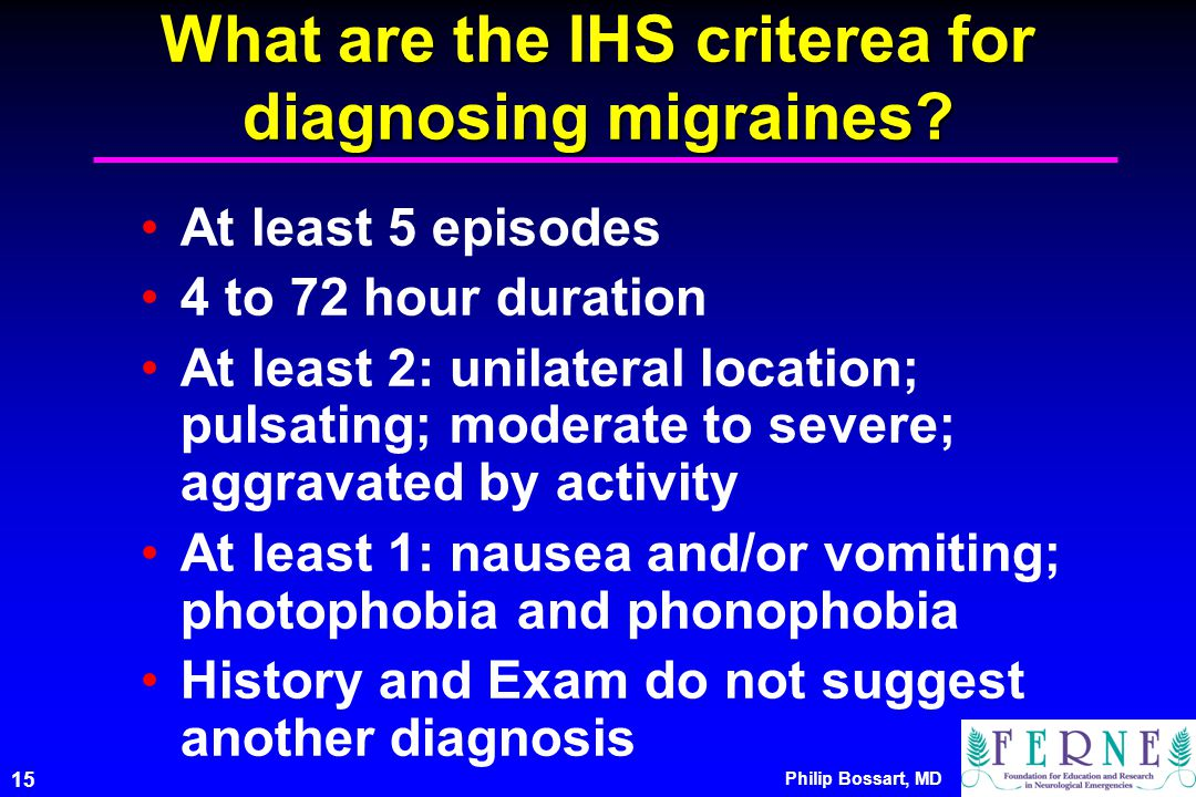 What are the IHS criterea for diagnosing migraines