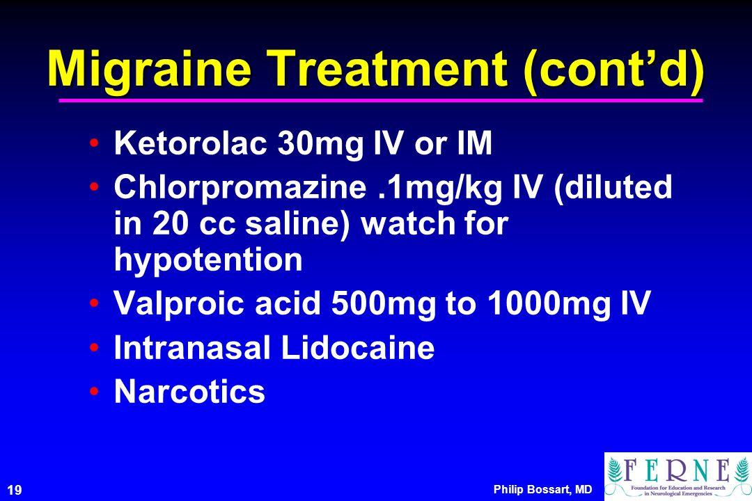 Migraine Treatment (cont'd)