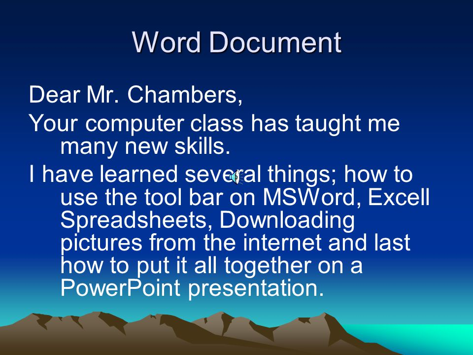 Word Document Dear Mr. Chambers,