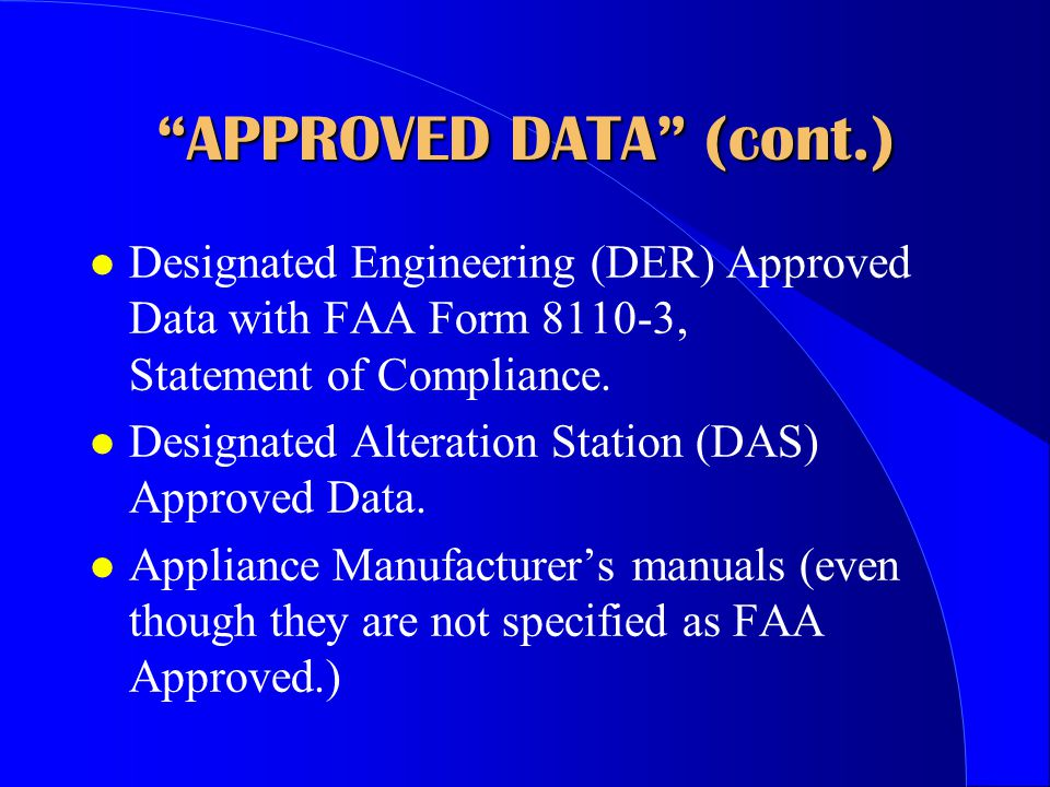 APPROVED DATA (cont.)