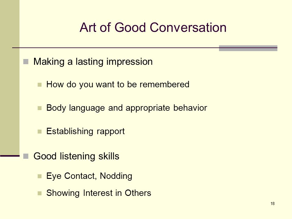 Art of Good Conversation