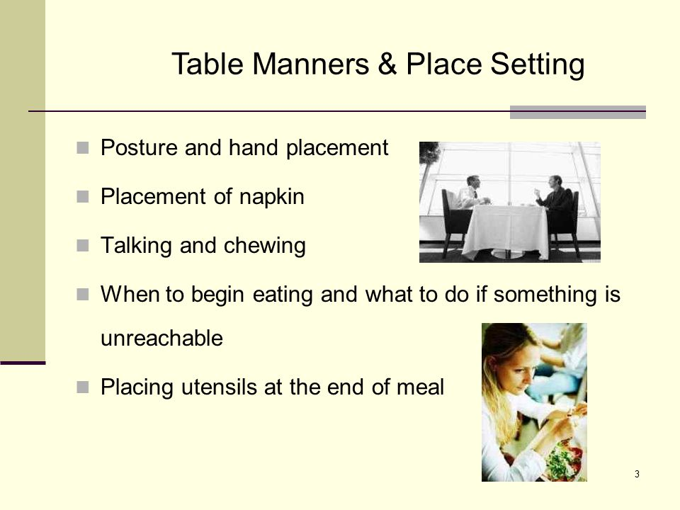 Table Manners & Place Setting