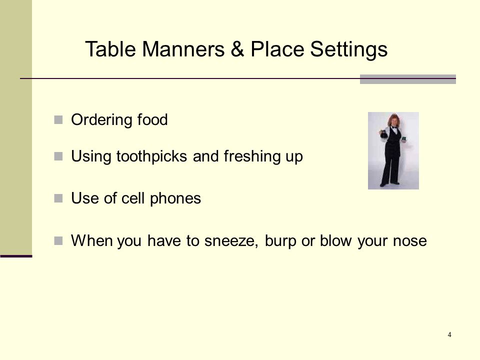 Table Manners & Place Settings